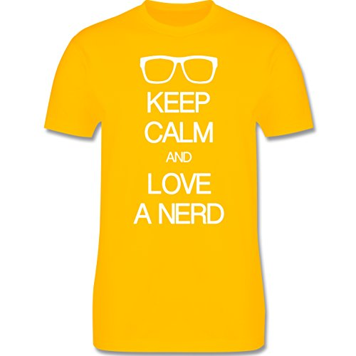 Nerds & Geeks - Keep calm and love a nerd - Herren Premium T-Shirt Gelb