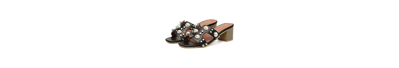 GTVERNH Verano Las Perlas Sauces Arrastrando Mujeres Medio Tacón Rough Heels Zapatillas Naturaleza Playas. Cuarenta... -