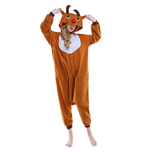 Casa Pyjama Tieroutfit Schlafanzug Tier Onesies Sleepsuit mit Kapuze Erwachsene Unisex Overall Halloween Kostüm (Erwachsenen Weihnachten Kostüme)