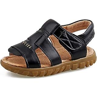 Saldgoiz Mädchen Jungen Sandalen Geschlossene Leder Kindersandale Kinder Sommer Outdoor Offene Sandale Schuhe Klettverschluss Schwarz(Offene) 32 EU/33CN