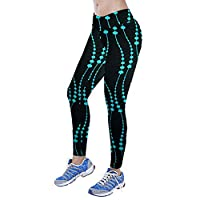 Tonwalk Women Yoga Sport Printed Pants Nine Points Leggings (Blue, XL)