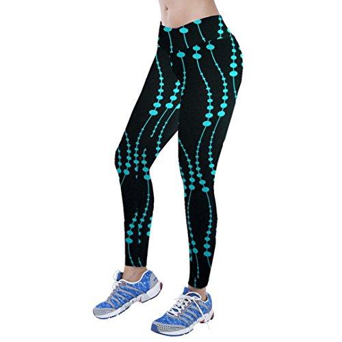 Tonwalk Women Yoga Sport Printed Pants Nine Points Leggings (Blue, S)