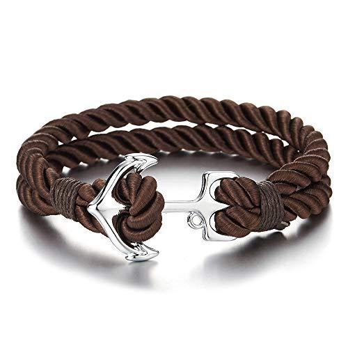 Baumwoll-haken (iMECTALII Damen Herren Zweireihige Braun Baumwolle Geflochtene Wickeln Schweißband Armband mit Haken Anker)
