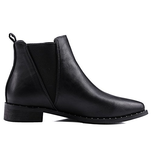 ... COOLCEPT Damen einfache elegante westliche flache Schuhe Datierung  Knöchel Stiefel Beiläufige Chelsea Stiefel Schwarz ... 21a2e3e4bc