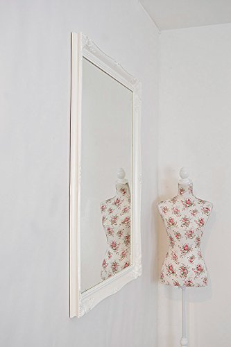 GLOSS WHITE VERY LARGE SHABBY CHIC ANTIQUE STYLE MIRROR - 36