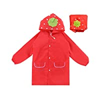 Chinashow Lovely Strawberry Toddler Raincoat Poncho Baby Girl Rain Jacket Hooded School Backpack Cute Rainwear for 2-5 Years Old,Red
