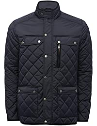 M&Co Mens Long Sleeve Light Diamond Quilting Pocket Front Funnel Neck Zip Stud Button Front Jacket
