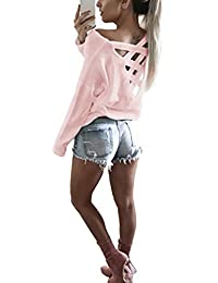 Yidarton Tee Shirt Femme Manches Longues Casual Col Rond Sexy Dos Nu T-shirt Haut Blouse Top Jumper