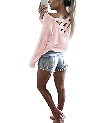 Yidarton Tee Shirt Femme Manches Longues Casual Col Rond Sexy Dos Nu T-shirt Haut Blouse Top Jumper (S,