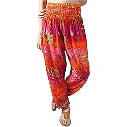 Lofbaz Mujer Harem Boho Tie Dye Pantaloni cintura elástica Rosa Naranja talla única