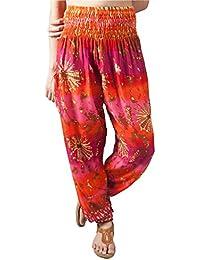 Lofbaz Pantalon Sarouel Femmes Taille Smockée Harem Boho Pants