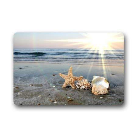 Aeykis Tapis de Porte de Bienvenue intérieur/extérieur/Avant Starfish Sea Waves