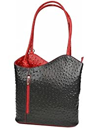 Made in Italy Ledertasche Damentasche 2in1 Handtasche als Rucksack oder Umhängetasche/Schultertasche Tablet/Ipad mini bis ca. 10-12 Zoll 27x29x8 cm (BxHxT) (Strauß))