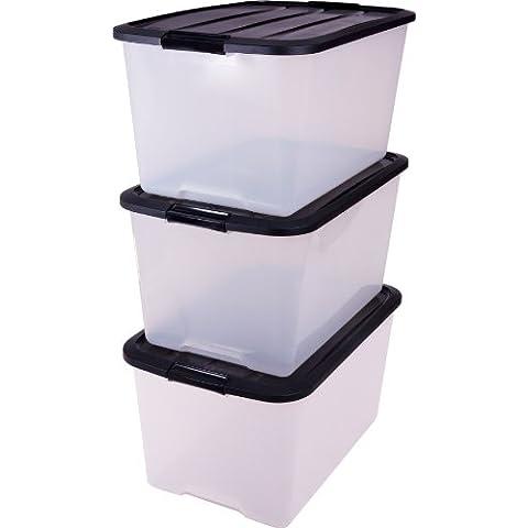 Caja de 45 litros x 3, caja transparente de plástico, contenedores y manejar, immagazzinoggio plástico, contenedores, almacenaje con tapa, caja orgánica - 45