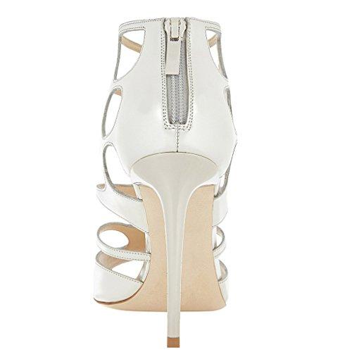 ENMAYER Femmes Mesdames PU Matériel Sexy Open Toe Glatiaters Stiletto Hauts Talons Chaussures De Mariage Chaussures Back-zip Pompes Blanc
