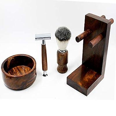Vintage Pure Wood Shaving Kit Gift for Men - Safety Razor - Shaving Bear Brush Best Badger Hair Shaver Wood Handle Shaving soap bowl and Razor Stand kit - Pack of 4 PCS - Great Gift Idea for Christmas