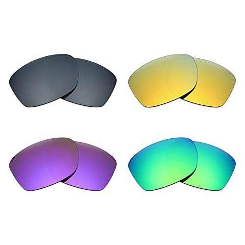 MRY 4Paar Polarisierte Ersatz Gläser für Oakley Jupiter Squared sunglasses-black Iridium/24K Gold/Plasma violett/Smaragd Grün