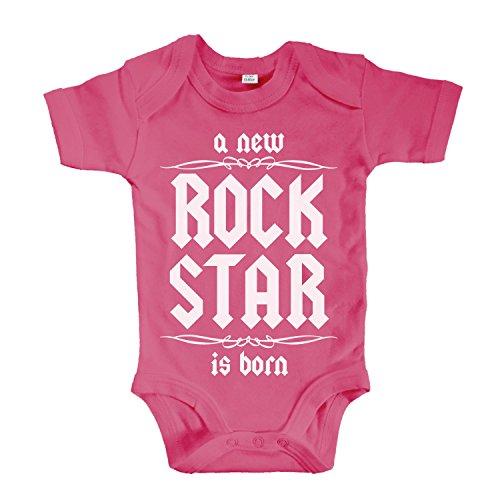 net-shirts Organic Baby Body mit A New Rock Star is Born Aufdruck Rock n Roll Heavy Metal Strampler Babybekleidung aus Bio-Baumwolle mit Zertifikat, Größe 0-3 Monate, pink -