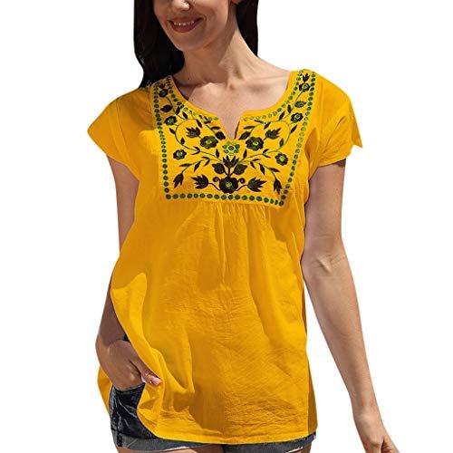 kolila Personalisiertes Drucken T Shirt Oberteile Casual Damen Sommer Basic V-Ausschnitt Kurzarm Tops Bluse Pullover - Lurex Western Shirt