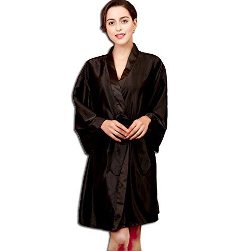 KAXIDY Robes de Chambre Kimonos Peignoir Pyjama Fille Femme Robe de Bain Robe de Chambre Noir