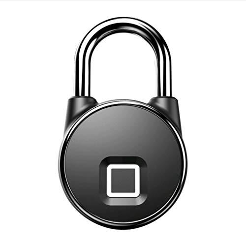 Regenfeste Fingerabdruck-Vorhängeschloss-elektronische Verschlüsselungs-Sicherheit Im Freien Wasserdichte Und Explosive Metalllager-Schlafsaal-Tür (Color : Black)
