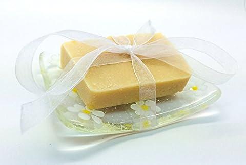 Blanc Daisy avec fusible plat en verre jaune & Coffret Cadeau Savon Naturel–Fabriqué à la main en East Sussex