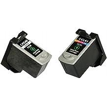LCL(TM) PG40 CL41 (2-Pack Negro Tricolor) Cartuchos de Tinta Remanufacturado para Canon PIXMA iP1200 iP1300 iP1600 iP1700 iP1800 iP1900 iP2200 iP2500 iP2600 MP140 MP150 MP160 MP170 MP180 MP190 MP210 MP220 MP450 MP450x MP460 MP470