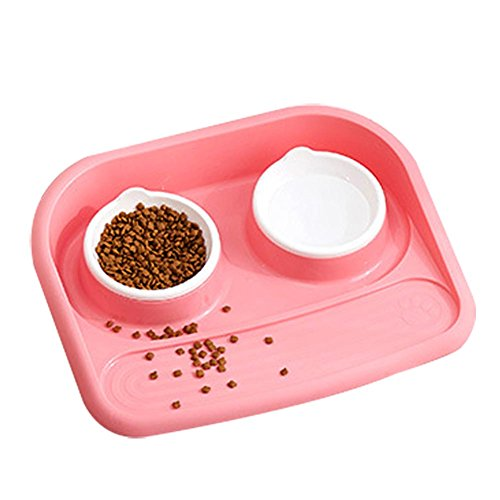 Pet Dual Bowl Cat Dog Water Food Feeder Puppy Automatic Dispenser Drinking Dish Anti Skid Bowls