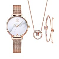 Women Watches Sets Gifts For Mom Wife Girlfriend Quartz Wrist Watch Necklace Bracelet Set (0039-RG SL006 DZ004)