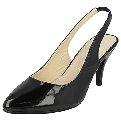 Spot On Mid Heel Slingback (Black, Size 7 UK)