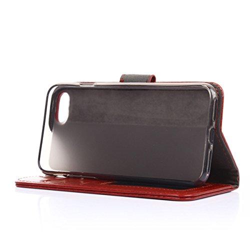 iPhone 7 Hülle,Fodlon® Mode Brieftasche mit Karte Schlitze Telefon Schutzhülle -Weiß braun