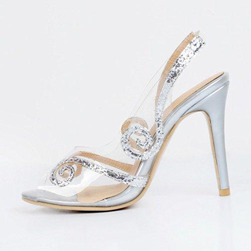 Kolnoo Damen Faschion PVC lederner Slingback Absatz reizvolle Partei Sandelholz Schuhe Silver