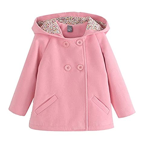 Baby Mädchen Mantel Herbst Wintermantel Kapuze Jacke Outerwear Zweireihige Knöpfe Alter 2-7 Rosa