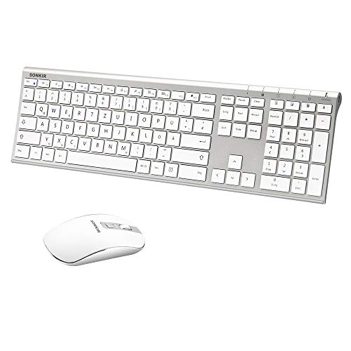 Sonkir Tastatur und Maus, K-18 2,4GHz ultradünne wiederaufladbare Aluminium-Tastatur in voller Größe für Windows, Laptop, PC, Notebook (Silber)