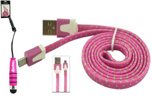Emartbuy® Geflochten Flaches Duo Packfür Kyocera Hydro Shore - Hot Rosa Mini Eingabestift + Geflochten Rosa/Grün Flaches Micro USB Sync/Übertragung Daten & Ladekabel - Hydro-hot-pack