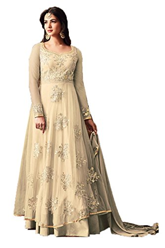 Sasimo Women's Embroidered Semi-Stitched Salwar Suit (Beige)