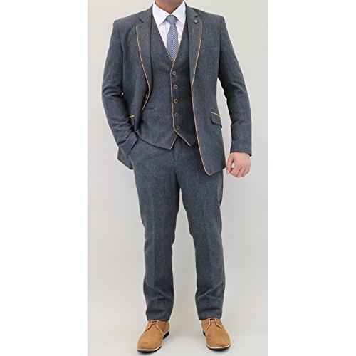 "Uomo Misto Lana Tweed Blazers Gilet Pantaloni 3 Pezzi Abiti By Cavani - Blu scuro - KAOS, Chest 44""/Waist 38"" Regular"