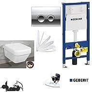 Geberit Duofix Vorwandelement, V&B Combi-Pack Architectura, DirectFlush WC Spülrandlos Komplettset + Deckel Softclose, Ceramicplus Drückerplatte chrom