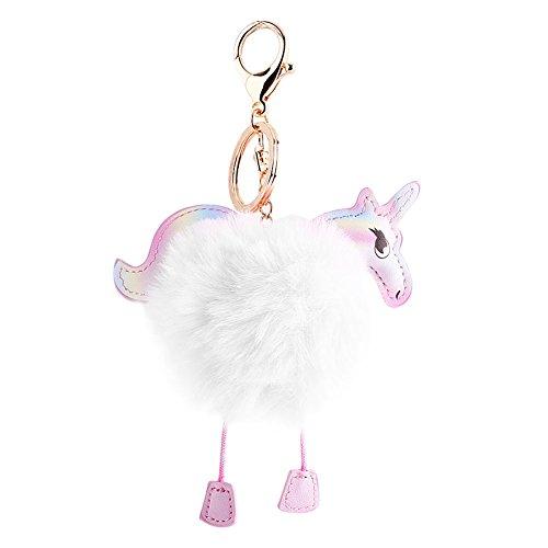 Weiße Keychain Pom Pom (Bunte Unicorn Keychain, Niedliche Pooping Unicorn Keychain Pelz Ball Schlüsselanhänger Tasche Hängen Anhänger(Weißer Fellball))