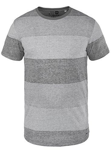 !Solid Teine Herren T-Shirt Kurzarm Shirt mit Streifen und Rundhalsausschnitt, Größe:XXL, Farbe:Light Grey (2325)