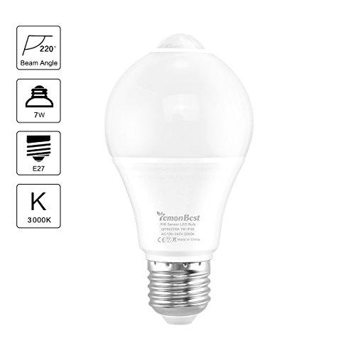Bewegungssensor Glühbirne, ONEVER Dusk-to-Dawn Sicherheits-LED-Lampen Eingebauter Infrarot-Sensor und Lichtsensor 50W Equivalent Warm White, AC 100-240V (1)
