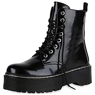 SCARPE VITA Damen Plateau Stiefeletten Worker Boots Profilsohle Stiefel 174764 Schwarz Lack 37