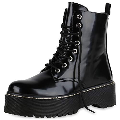 SCARPE VITA Damen Plateau Stiefeletten Worker Boots Profilsohle Stiefel 174764 Schwarz Lack 38