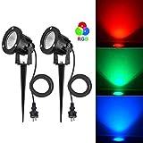 SanGlory Lot de 2 Spots LED Exterieur RGB, 7W LED Lampe de Jardin 800LM, Éclairage...