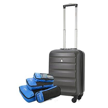 Aerolite ABS Maleta Equipaje de mano cabina rígida ligera con 4 ruedas (Carbón + Embalaje Cubo)