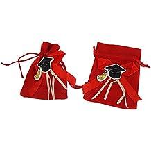takestop® Set 12 Pezzi Sacchetti Sacchetto Rosso Laurea Juta 10x13 CM BOMBONIERA  BOMBONIERE Porta Confetti 1b5c8f04d690