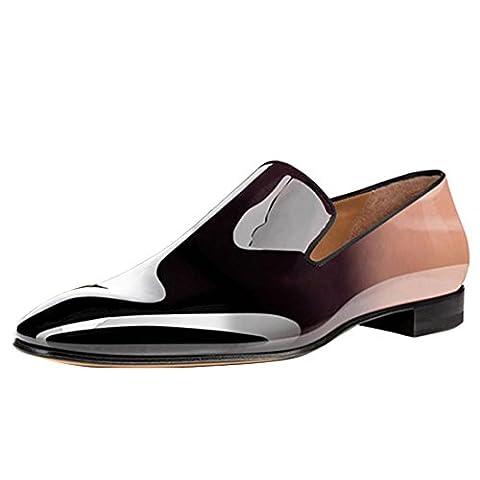 Cuckoo Männer Lackleder Kleid Schuhe Slip On Oxford Brown Loafers EU39