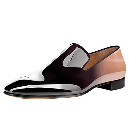 Cuckoo Männer Lackleder Kleid Schuhe Slip On Oxford Loafers Hellbraun