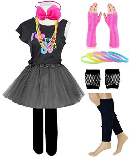 Kind Mädchen ich Liebe 80er Jahre T-Shirt Kostüm Stirnband Tutu Rock Leggings Handschuhe Accessoires Set (8/10, Black) (Rock Stars Der 80er Jahre Kostüm)