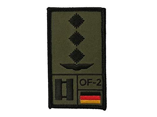 Café Viereck Hauptmann Luftwaffe Bundeswehr Rank Patch mit Dienstgrad, Deutschlandflagge, NATO-Rang und US-Rank Gestickt mit Klett (Oliv)